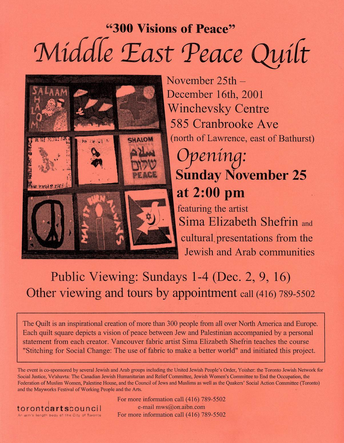 Middle East Peace Quilt 2001