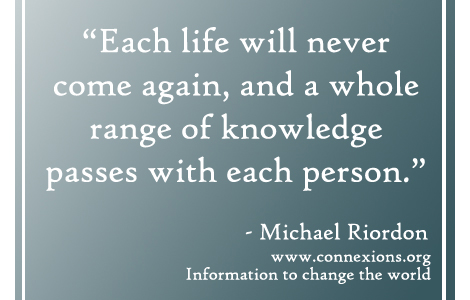 Michael Riordon Each life will never come again
