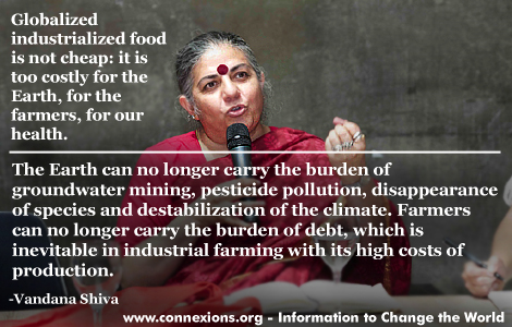 Vandana Shiva: Globalized industrialized food is not cheap.