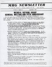 Medical Reform Newsletter September 1984