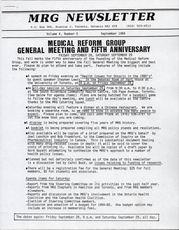 Medical Reform Newsletter September 1984