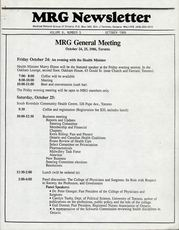 Medical Reform Newsletter October 1986