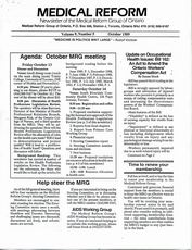 Medical Reform Newsletter October 1989