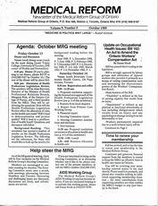 Medical Reform Newsletter October 1989