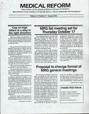 Medical Reform Newsletter August 1991