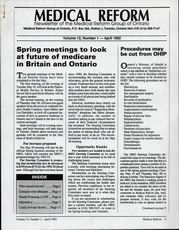 Medical Reform Newsletter April 1992
