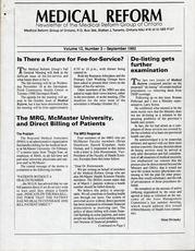 Medical Reform Newsletter September 1992