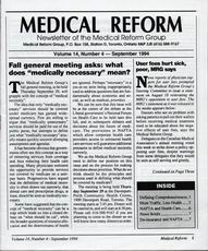 Medical Reform Newsletter September 1994