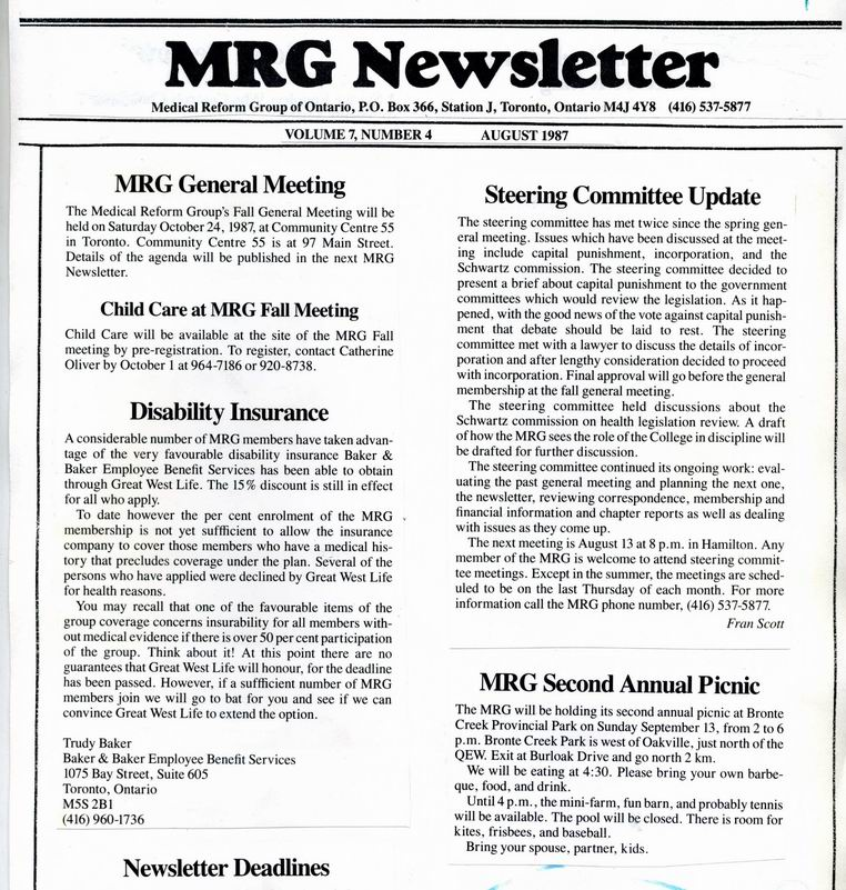 Medical Reform Newsletter August 1987