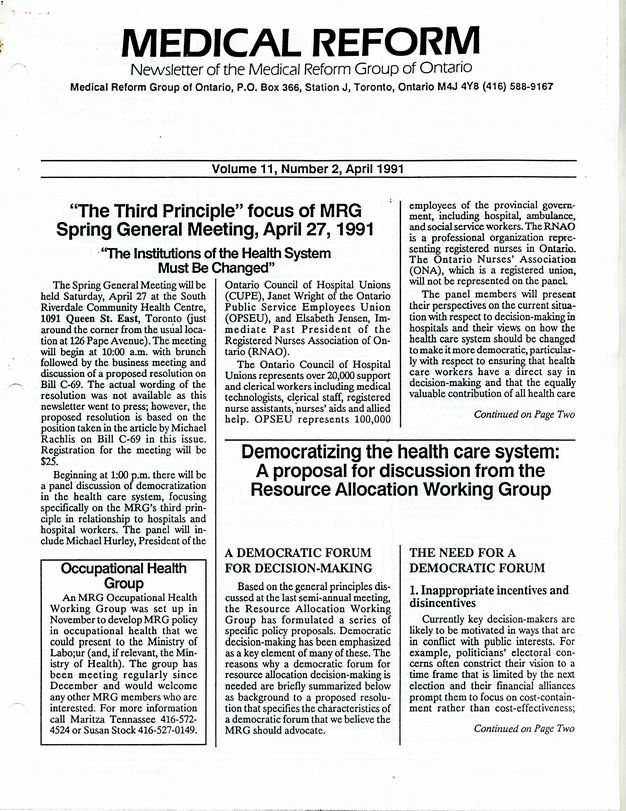 Medical Reform Newsletter April 1991